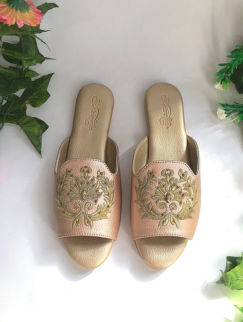 Rose Gold Zari Embroidered Flats with Embellishments