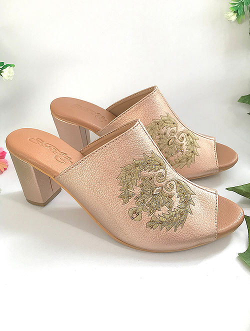 Rose Gold Zari Embroidered Heels with Embellishments