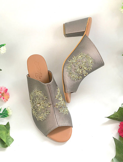 Gun Metal Zari Embroidered Heels with Embellishments