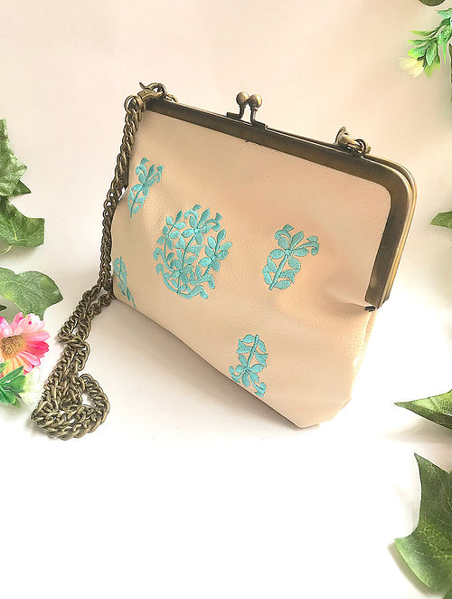 Cream-Turquoise Embroidered Clutch