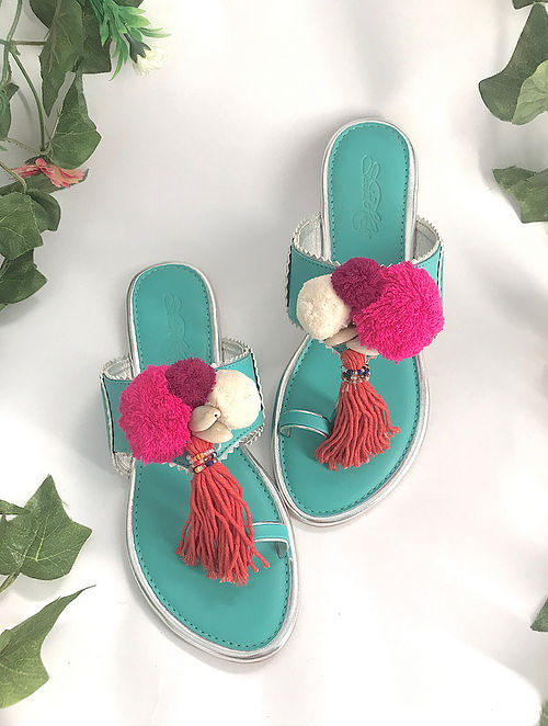 Turquoise-Multicolored Leather Kolhapuris with Pom Poms
