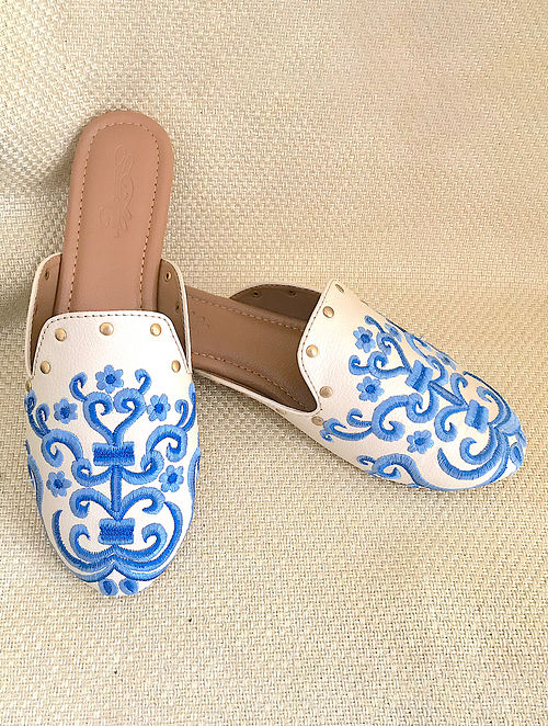 White Blue Embroidered Leather Mules