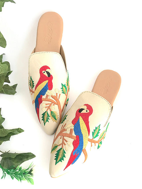 Cream Multicolored Embroidered Leather Mules