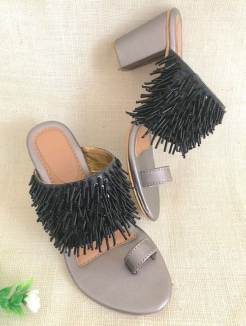 Black Silver Hand Embroidered Block Heels with Sequin Tassels