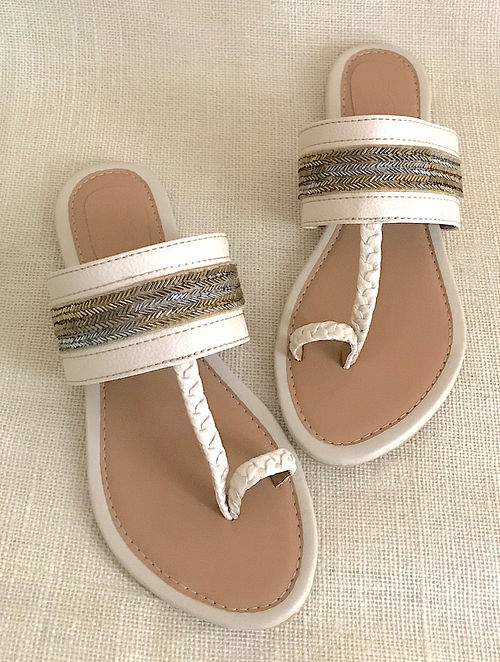 Cream Tan Hand Embroidered Flats with Beads and Sequins