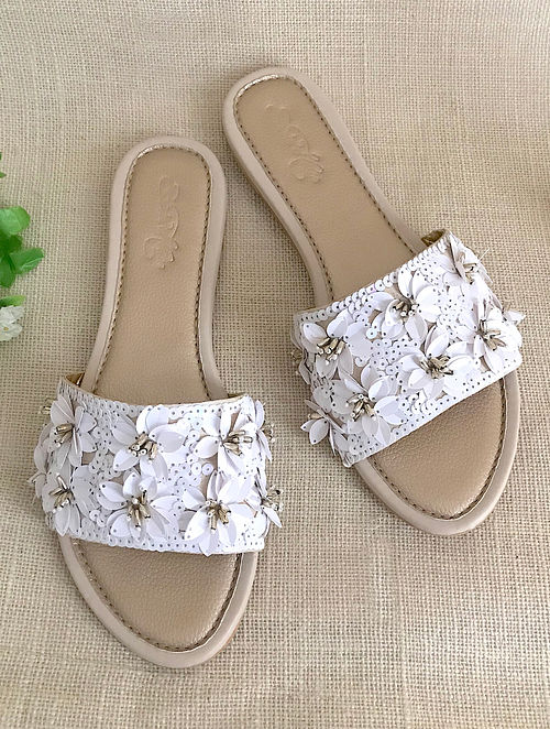 White Gold Hand Embroidered Flats with Sequins and Beads