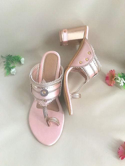 Pink Gold Handcrafted Satin Kolhapuri Block Heels