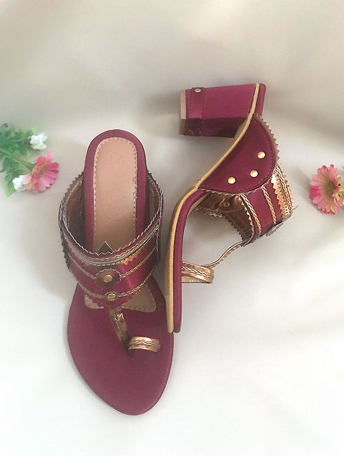 Maroon Gold Handcrafted Satin Kolhapuri Block Heels