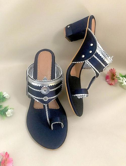 Blue Silver Handcrafted Satin Kolhapuri Block Heels