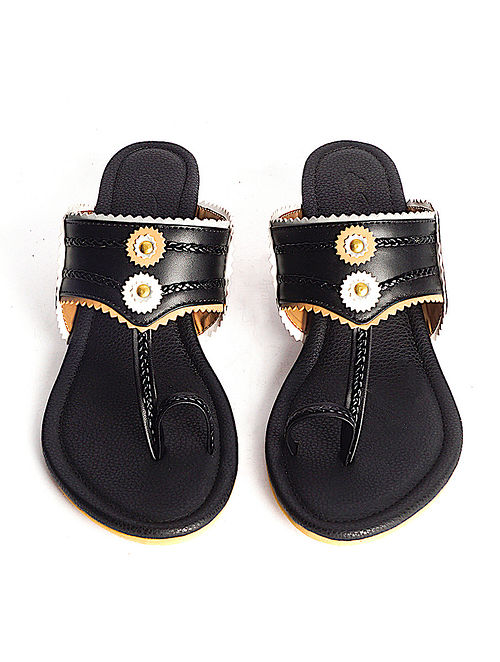 Black Handcrafted Faux Leather Kohlapuri Block Heels
