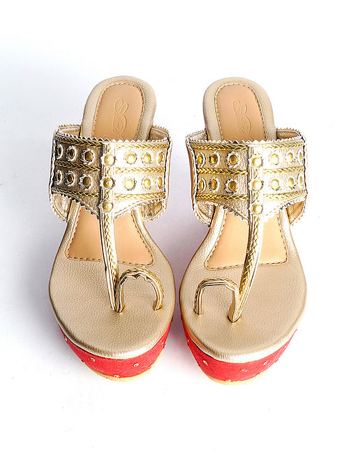 Gold Red Handcrafted Faux Leather Kohlapuri Wedges