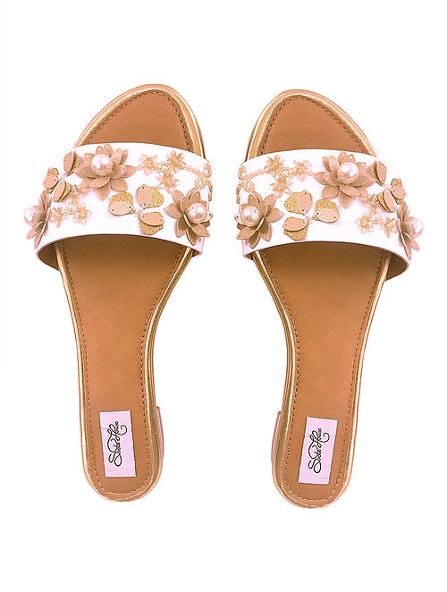 White Pearl Embellished Vegan Leather Flats