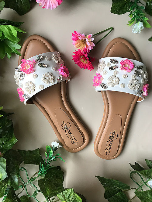 White-Pink Sequin-Embroidered Flats with Pearl Embellishments