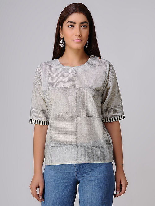 Ivory-Black Block-printed Cotton Top