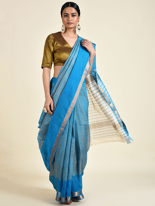 Blue-Ivory Handwoven Silk Cotton Saree