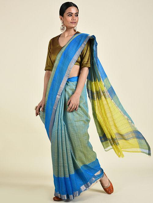 Blue-Yellow Handwoven Silk Cotton Saree