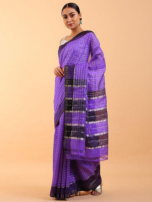 Purple-Black Handwoven Silk Cotton Saree