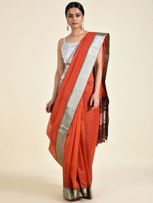 Orange Handwoven Silk Cotton Saree