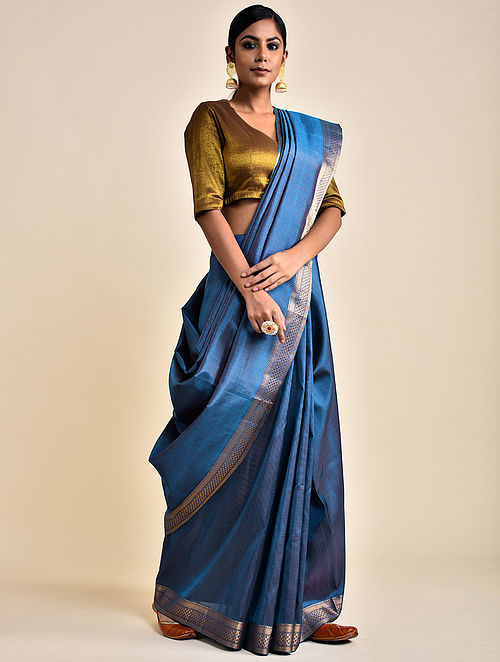 Blue-Pink Handwoven Silk Saree
