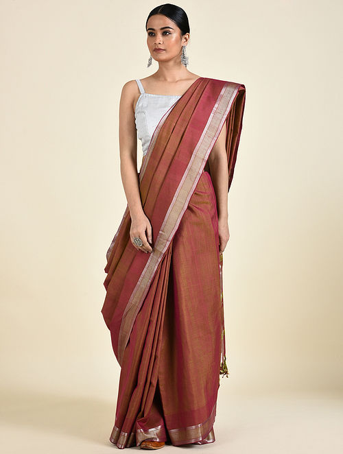 Brown Handwoven Silk Saree