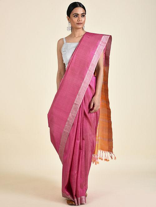 Pink-Orange Handwoven Silk Saree
