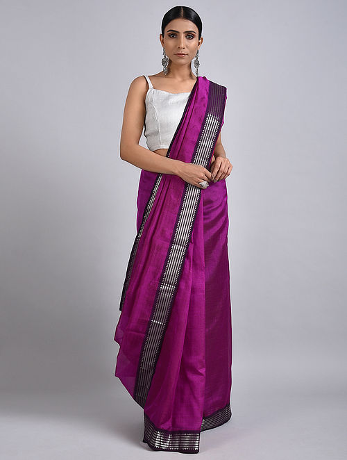 Purple Handwoven Silk Cotton Saree with Zari