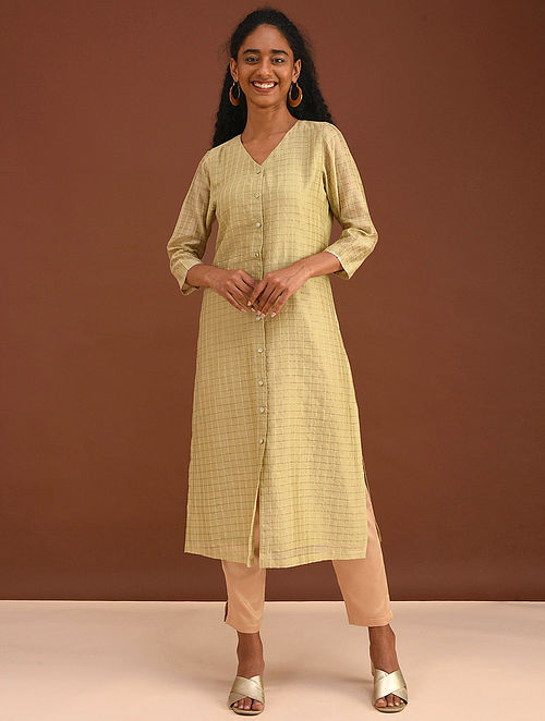 MAAHRU - Green Silk Cotton Kurta with Zari