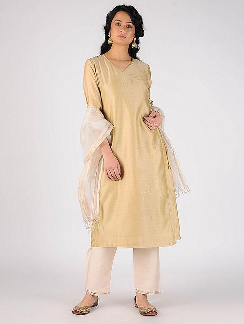 Beige Cotton Silk Angrakha