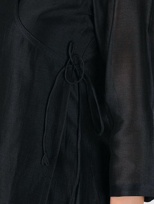 Black Cotton Silk Angrakha