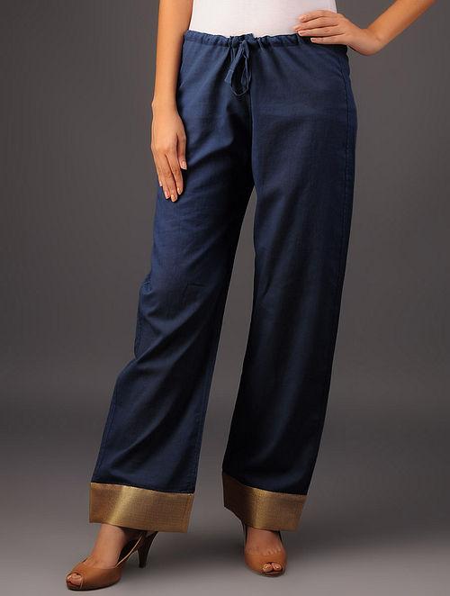 Blue Tissue Border Cotton Pants
