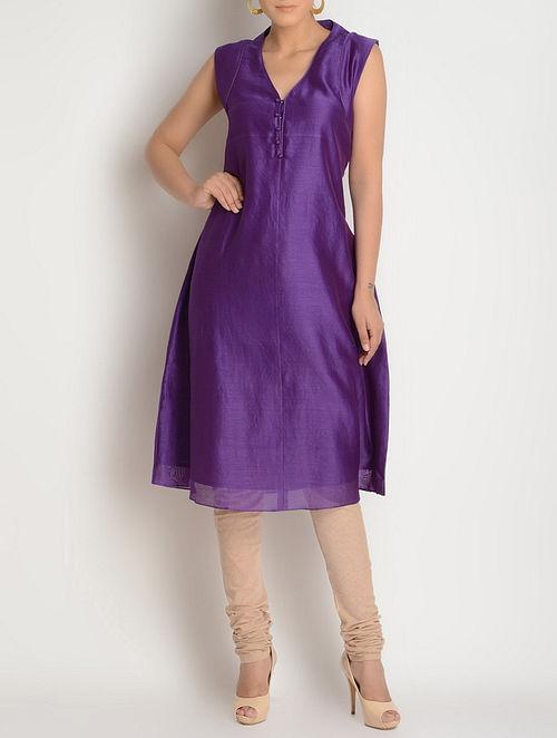 Purple Button Detailed Sleeveless Chanderi Kurta by Jaypore