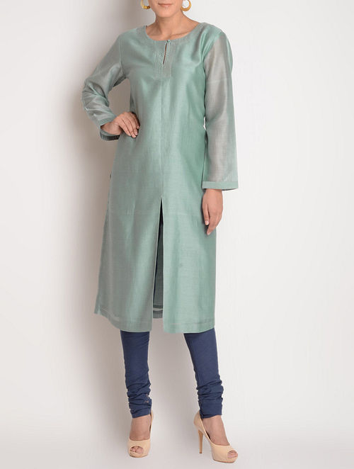 Grey Zari Stitch Detailed Chanderi Kurta by Jaypore