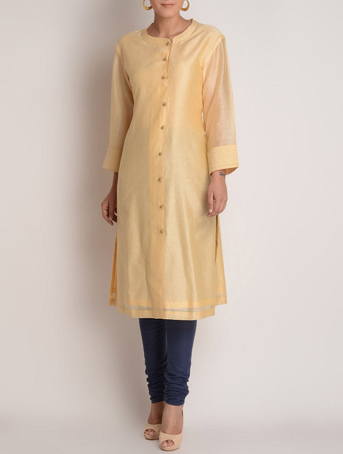 Cream-Golden Zari & Button Detailed Chanderi Kurta by Jaypore-M