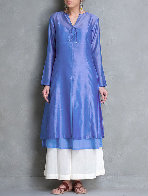 Blue Tie-Up Detailed Chanderi Kurta Set of 2 by Smriti