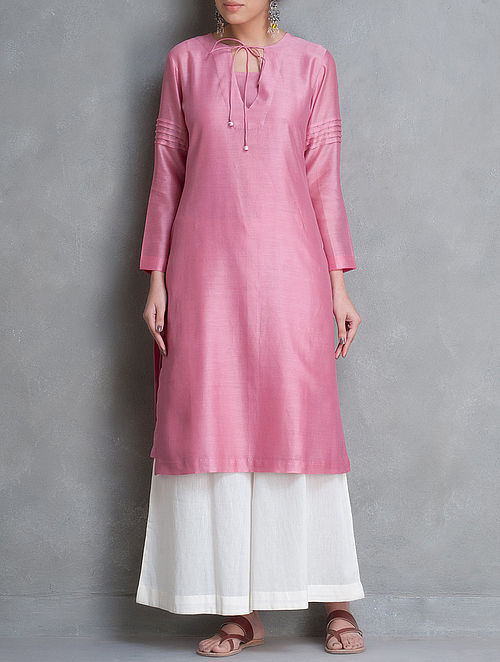 Pink Tie-Up & Pintuck Detailed Chanderi Kurta Set of 2 by Smriti