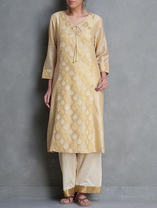 Biege-Golden Brocade Tie-Up Detailed Chanderi-Cotton Kurta by Smriti-XL