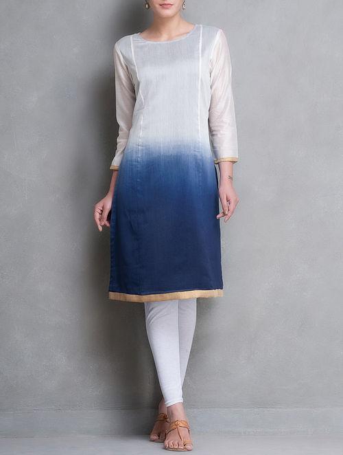 Navy Blue-Ivory Ombre Dyed with Zari Border Chanderi Kurta by Smriti