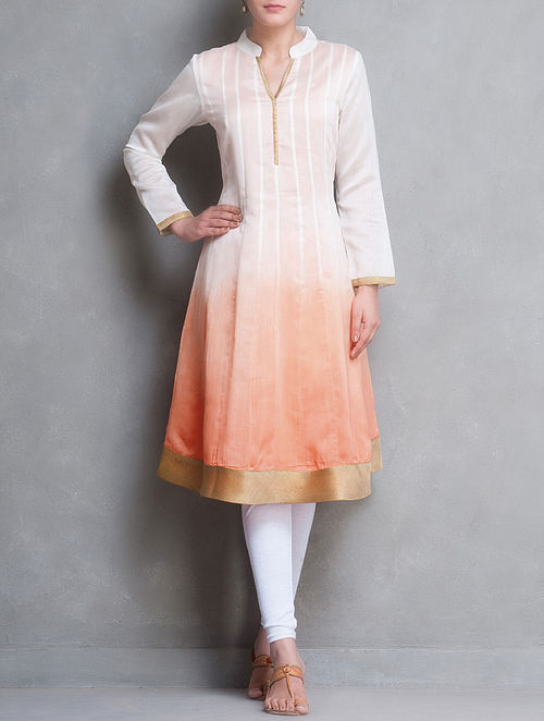 Ivory-Peach Ombre Dyed with Zari Border Kalidar Chanderi Kurta by Smriti