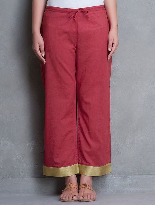 Red-Golden Zari Trim Detailed Tie-Up Waist Mul Cotton Palazzos-L