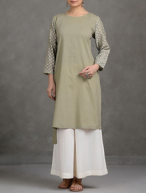 Green Benarasi Cutwork Round Neck Asymmetrical Hem Cotton Kurta-M
