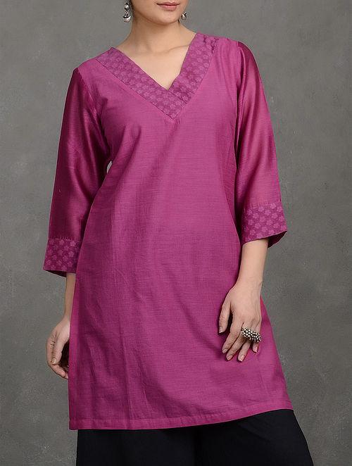 Magenta Benarasi Cutwork V-Neck Cotton Tunic