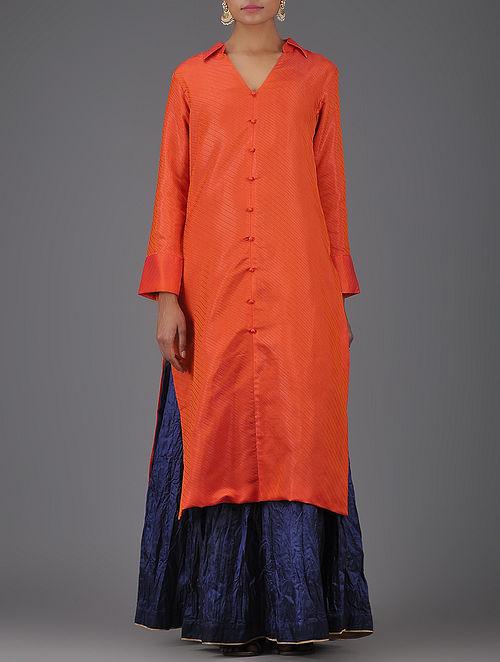Orange Striped Tanchoi Benarasi Silk Kurta-L