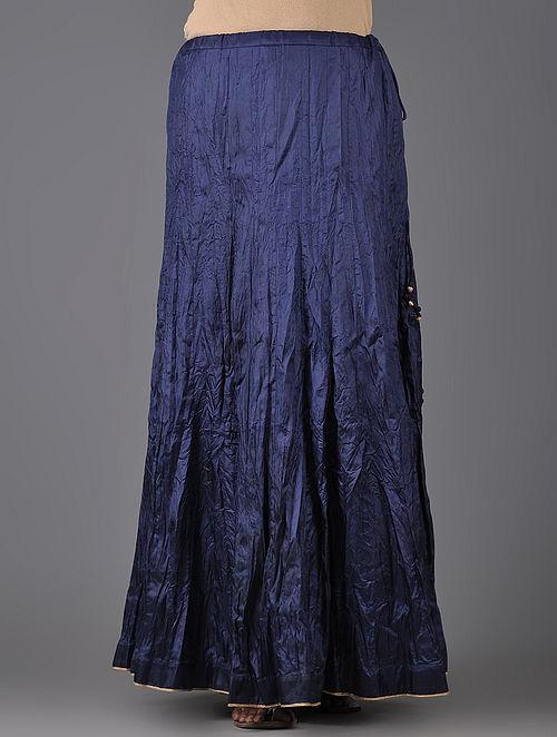 Navy Blue Tie-up Waist Crinkled Mulberry Silk Skirt