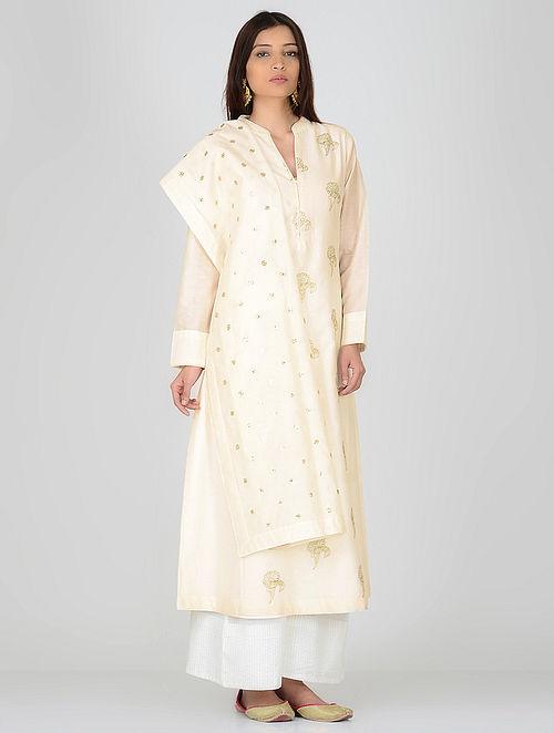 Ivory Zari Embroidered Chanderi Kurta