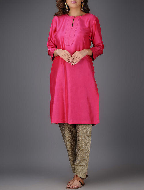 Pink Matka Silk Kurta-L