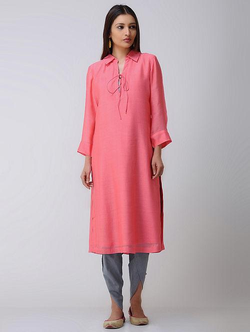 Pink Collared Chanderi Kurta