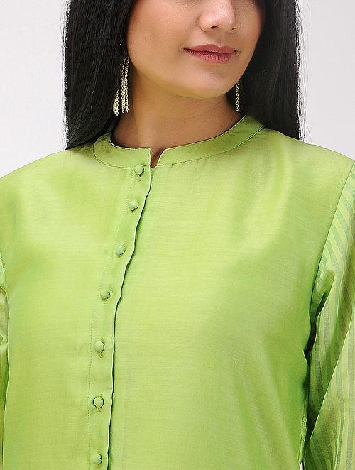 Green Chanderi Kurta with Maheshwari Details