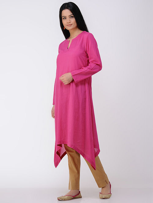 Fuchsia Cotton Mul Kurta