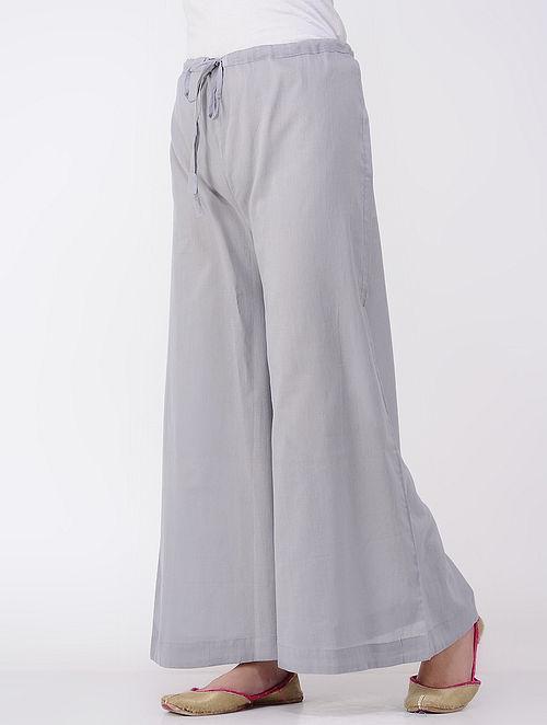 Grey Tie-up Cotton Mul Palazzos
