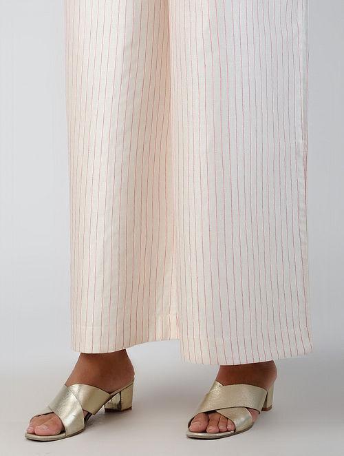 Ivory Tie-up Waist Chanderi-Cotton Palazzos